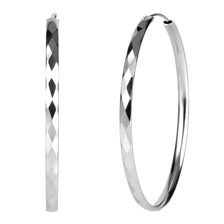 Fashion 35mm Rhinestone Diamond CZ Silver Dainty Hoop Earrings For Women Girls 14K Rose Gold Cubic Zirconia Hypoallergenic Stainless Steel Huggie Hoops Set