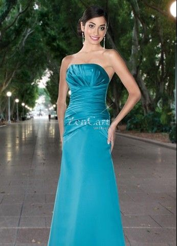 Cheap of Deep Sky Blue Satin Strapless Sleeveless Pleated Floor ...