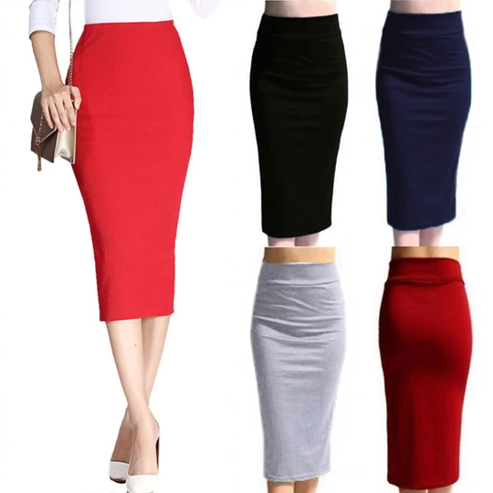 Womens Winter Knitted Skirt Green Knee Length Knit Stretch Tube Bodycon NEW UK