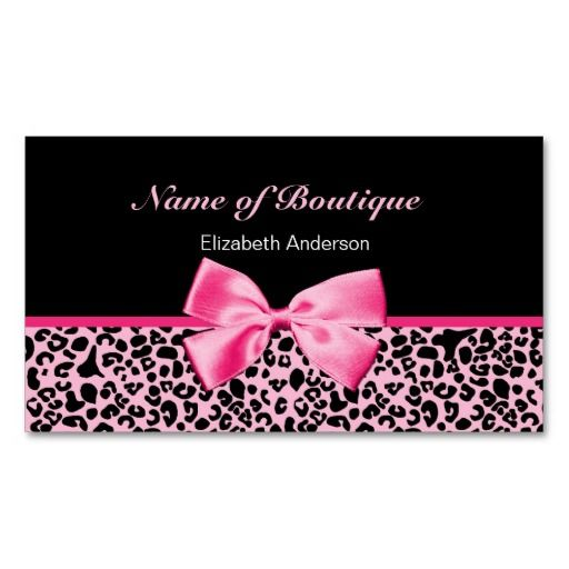 Trendy Boutique Pink And Black Leopard Pink Ribbon Business Card Zazzle Com In 2021 Fashion Business Cards Trendy Business Cards Trendy Boutique