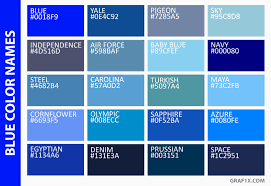 Image Result For List Of Blue Colors