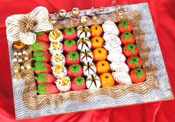 Send Wedding Gifts Online India: Square Mithai Platter