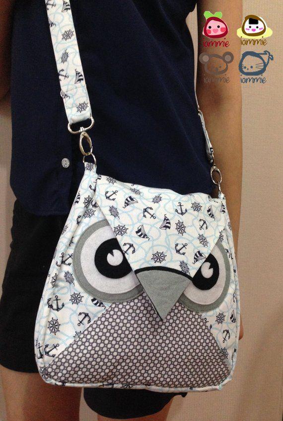 Sailly: bolsa plegable, bolsa de búho, bolsa de mensajero, bolso de mano, animal, bolsa de niños, bolsa, bolsa de tela, bolsa de niña, bolsa de niño, blanco, azul claro, punto, mar
