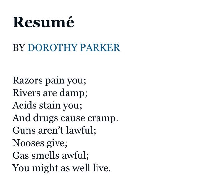 Resume By Dorothy Parker Pinpuddin' Tain On More Than A Survivor  Pinterest  Poem .