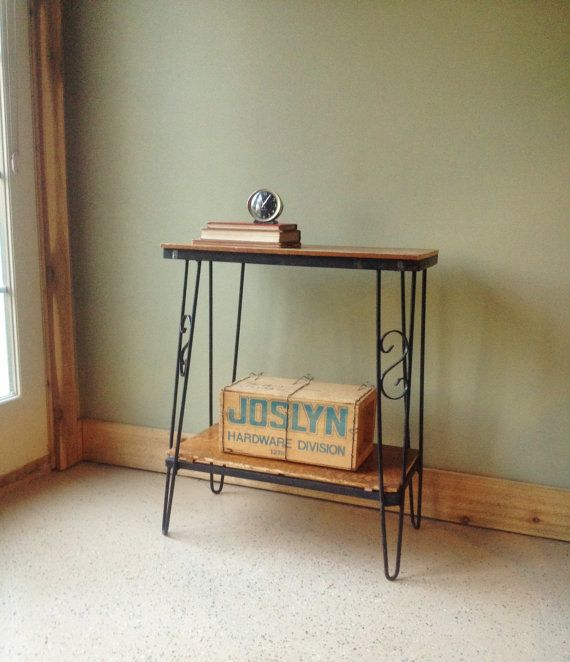 Vintage Two Tiered Table With Cast Iron Hairpin Legs Entry Table Oak Metal  Table