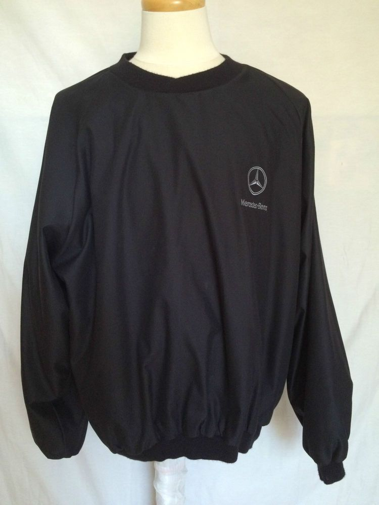 Mercedes-Benz XL Mens Pullover Windbreaker Black Long Sleeves Embroidered Logo | eBay
