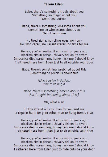 From Eden Hozier Lyrics Hozier Pinterest Songs Music Lyrics