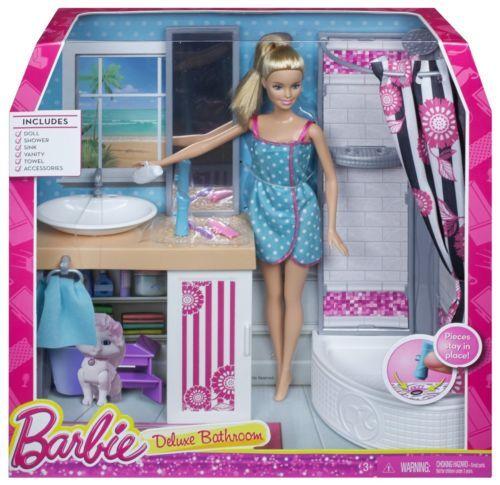 Barbie Cfb63 Cfb61 Puppenzubehor Deluxe Badezimmer Barbie Barbiepop Dingen Om Te Kopen