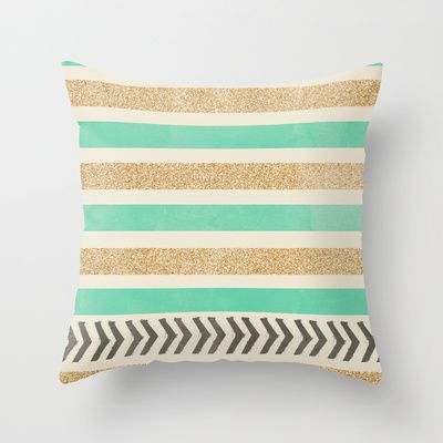 MINT AND GOLD STRIPES AND ARROWS Throw Pillow by Allyson Johnson - $20.00