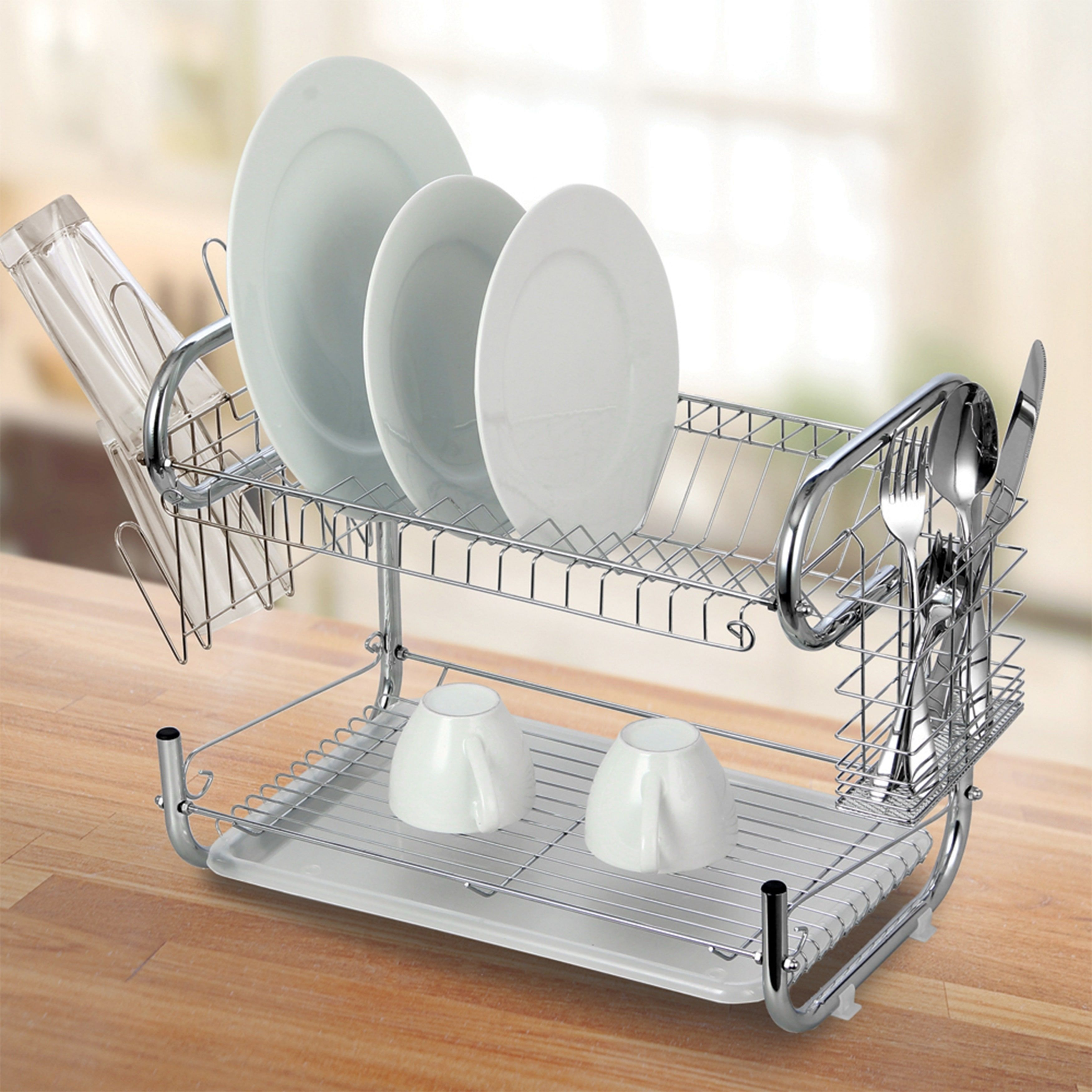 Modern Kitchen Chrome Plated 2 Tier Dish Drying Rack And
