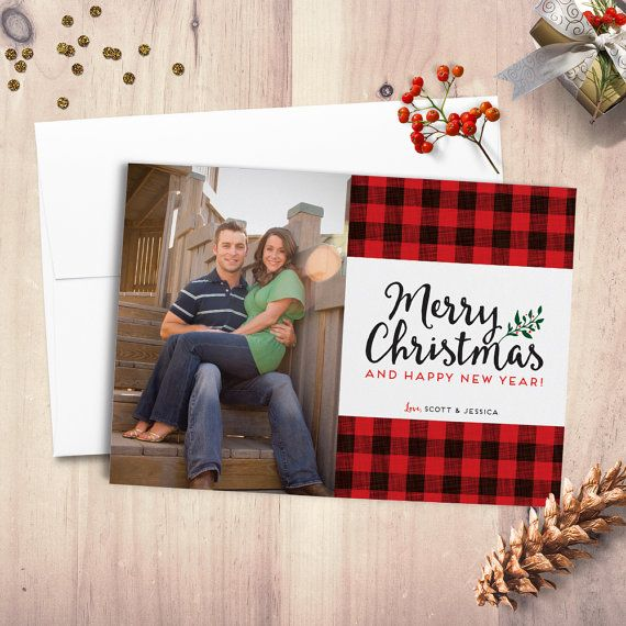 Buffalo Plaid Christmas Card Holiday Card Merry Christmas Photo Card Happy Ho Buffalo Plaid Christmas Card Digital Christmas Cards Christmas Card Pictures