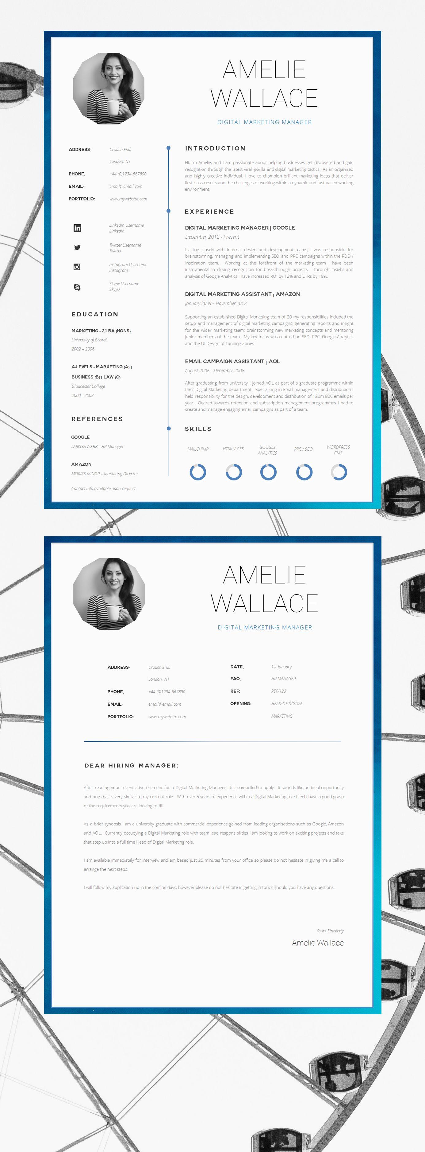 Marketing Resume Template For Word Printable Cv For Word Etsy Marketing Resume Cv Template Resume Design
