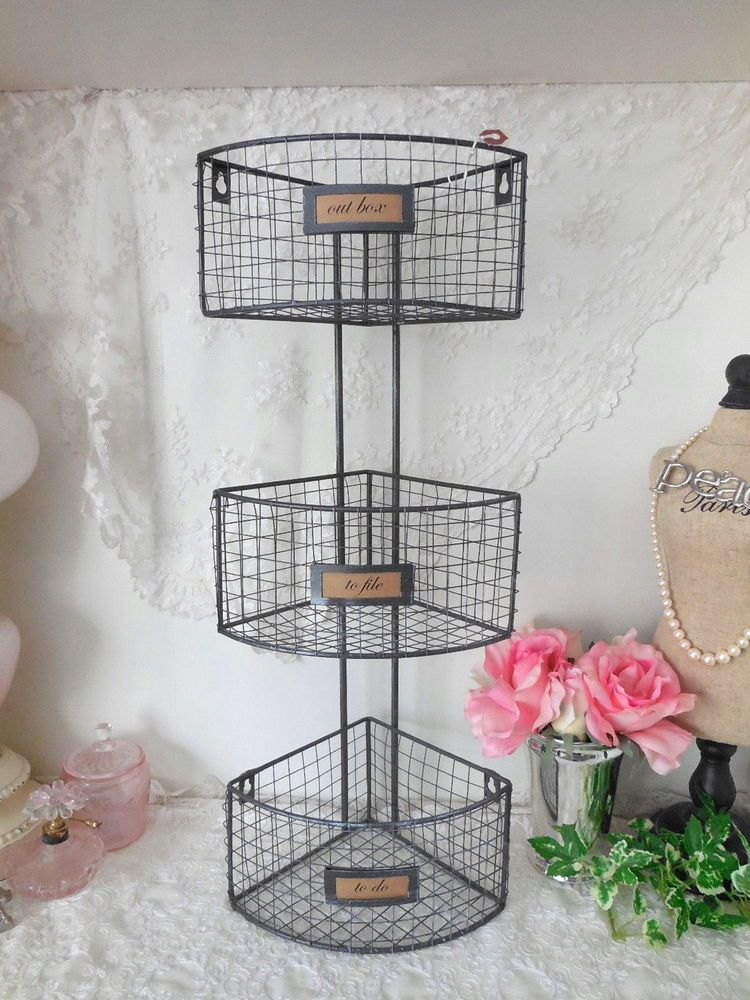Vintage Inspired 3 Tier Wire Metal Corner Shelf Storage Basket With Label Holder Shelf Baskets Storage Storage Baskets Corner Storage