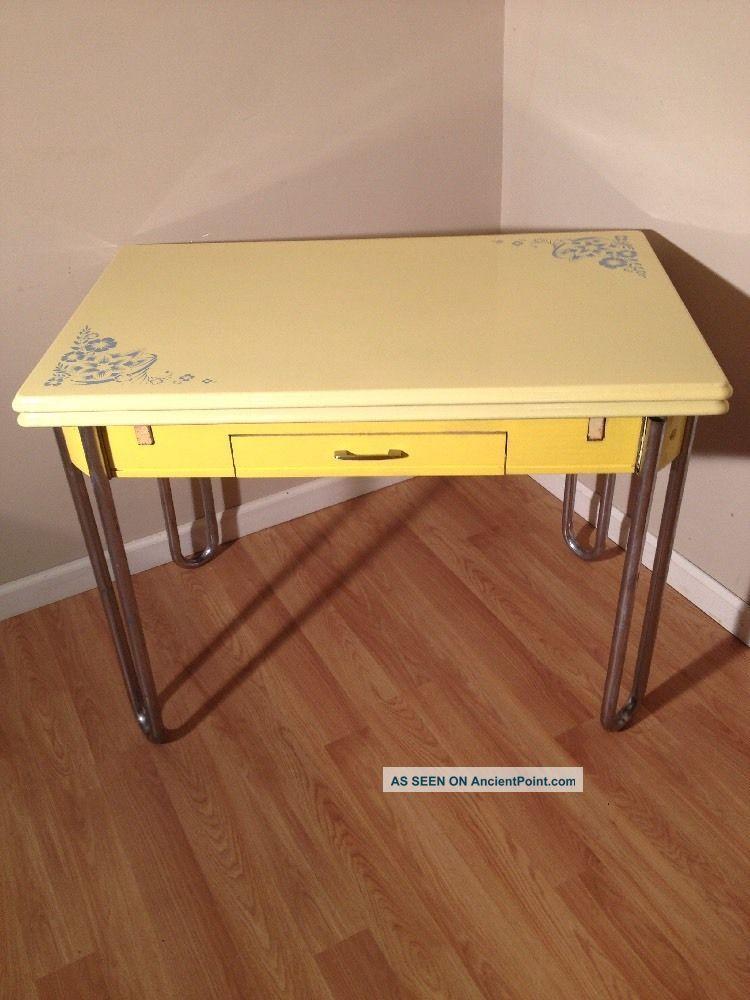 30 S Vintage Yellow Enamel Top Table Retro Kitchen Expansion W Drawer 1900 1950 Photo Tables