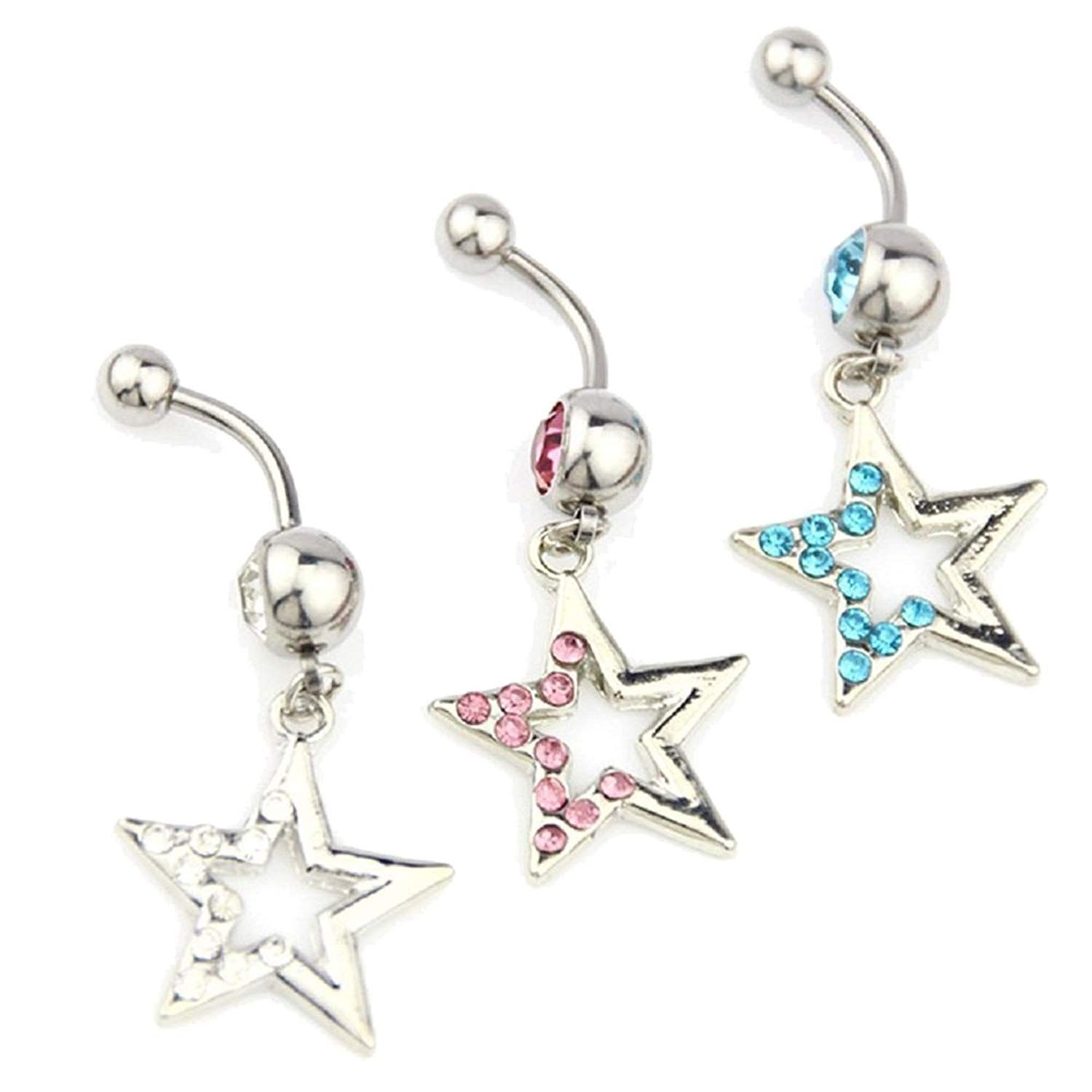 4bc1028a515290 CrazyPiercing 3pcs Star Dangle Rhinestone Belly Button Ring Navel Ring Body  Piercing Jewelry 14G >>> Details can be found by clicking on the image.