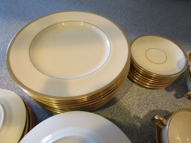 Gold Rimmed China And Crystal Including Eleven 7 75 W Plates Labeled Tiffany Co