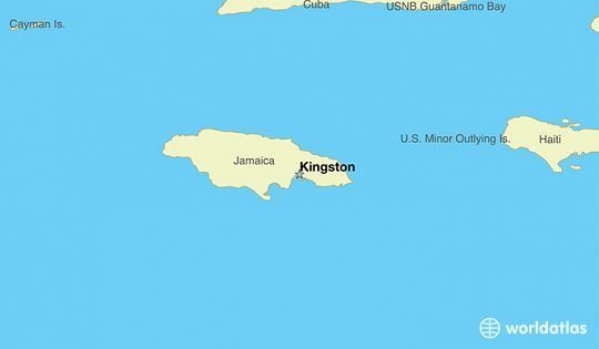 map showing the location of Jamaica Capital Kingston Travel