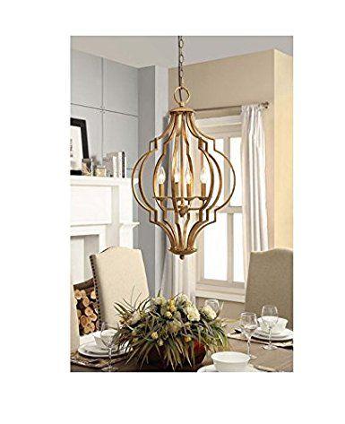 Gold leaf contemporary trellis 4 light chandelier modern farmhousegold