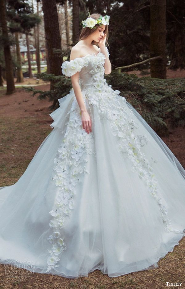 tiglily bridal 2016 off shoulder semi sweetheart ball gown wedding ...