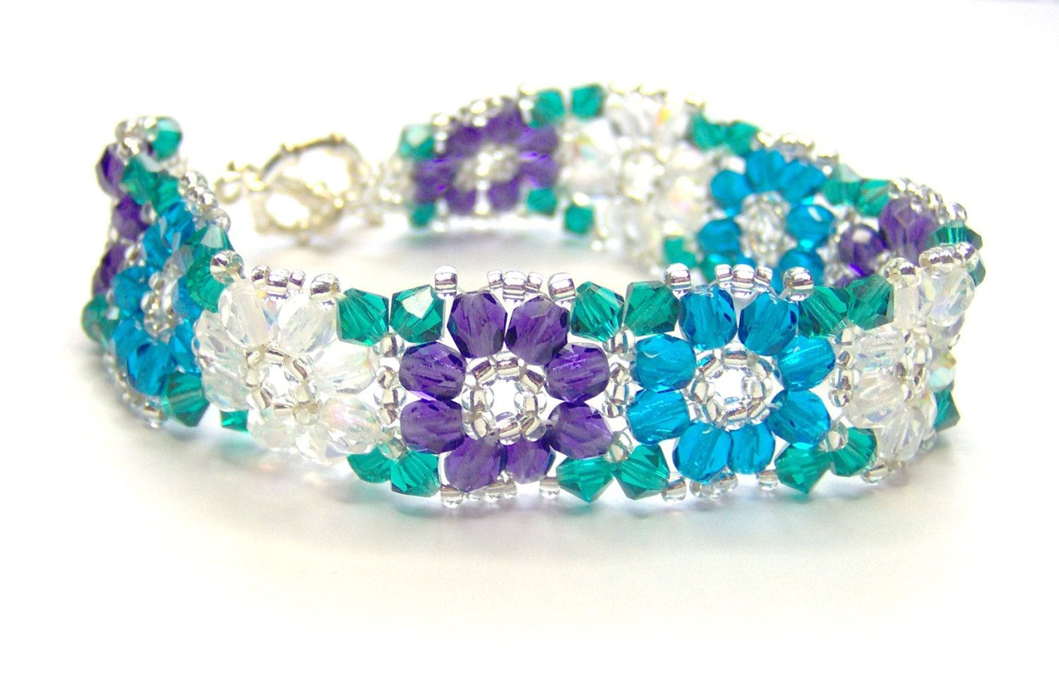 CLEARANCE Purple teal and turquoise crystal by AquaStudioDesigns