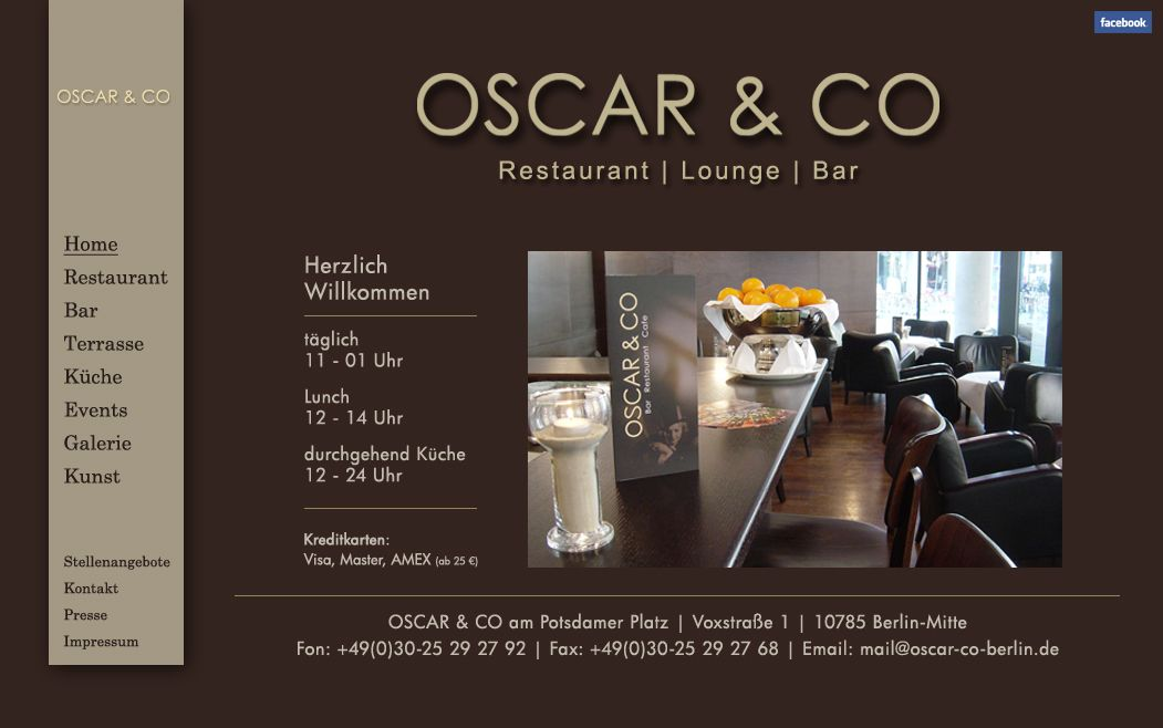 Oscar Co Restaurant Lounge Bar Voxstrasse 1 10785 Berlin Berliini