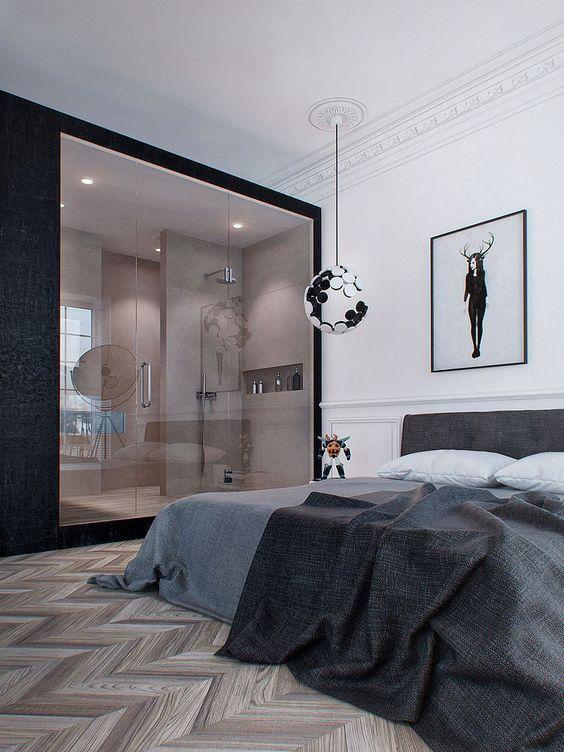Chambre avec parquet chevron point de Hongrie et salle de bain