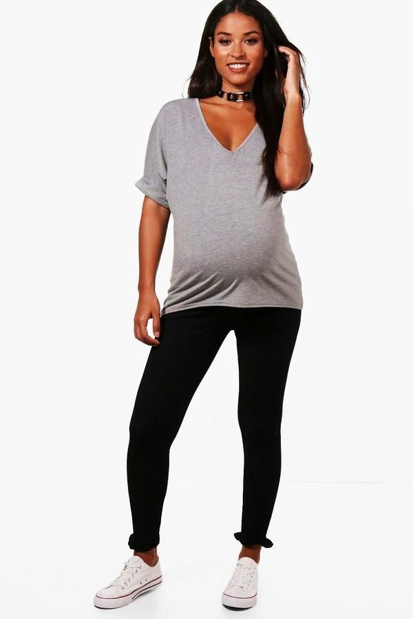 01b26b48d2e8b boohoo Maternity Rebecca Ruffle Hem Over The Bump Legging #afflink ...