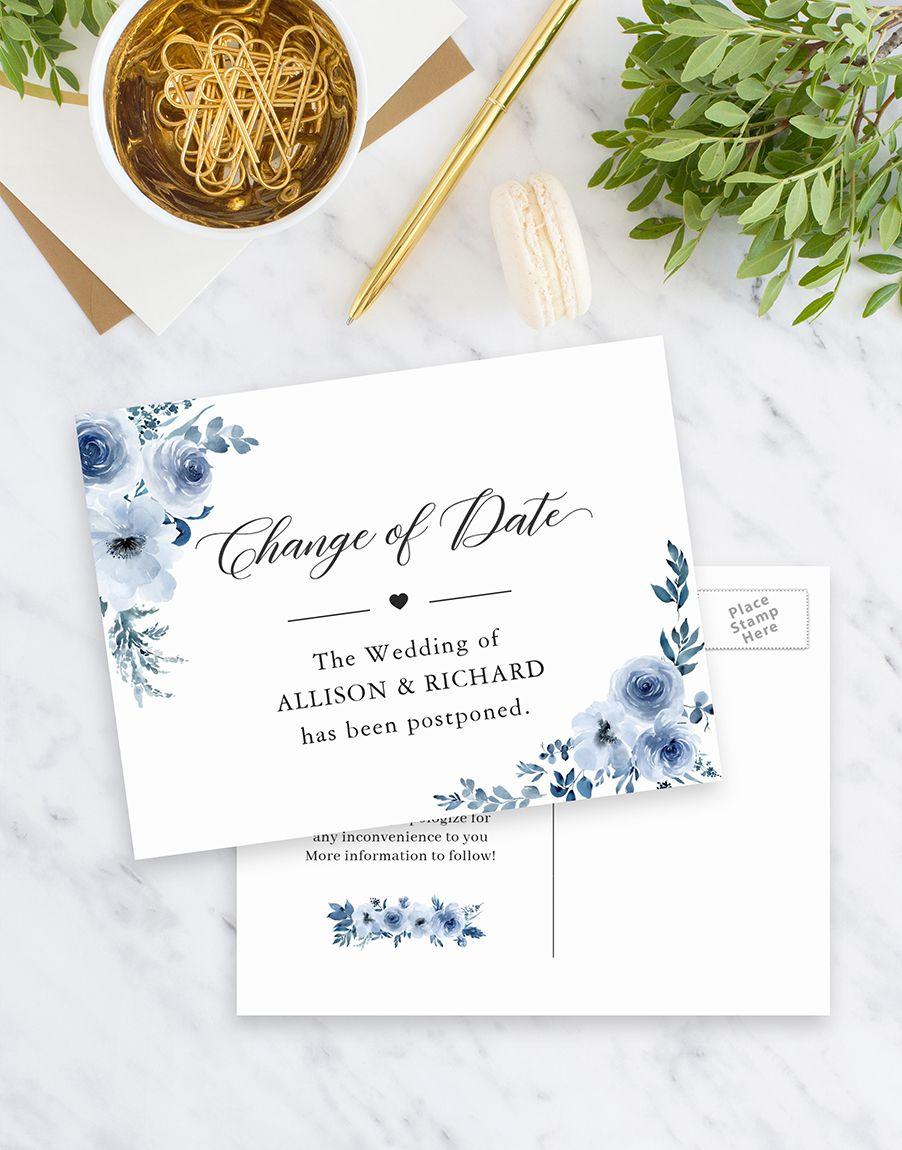 Change of date elegant new plan dusty blue flowers