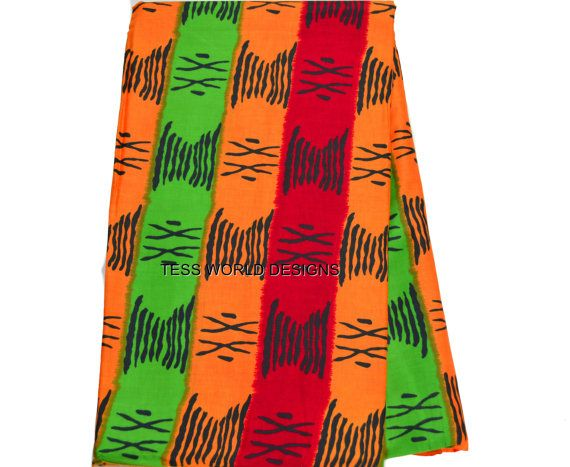 Orange Red Green Tribal print /African Fabric by TessWorldDesigns