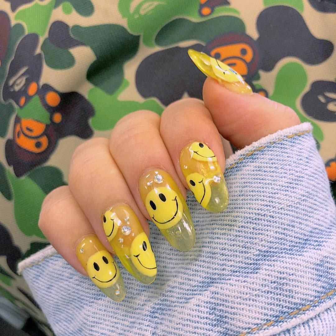 I Love Smiley Face Nails This Is My Fave Nail Artist Here In Miami Yellownails In 2020 Swag Nails Jelly Nails Dream Nails