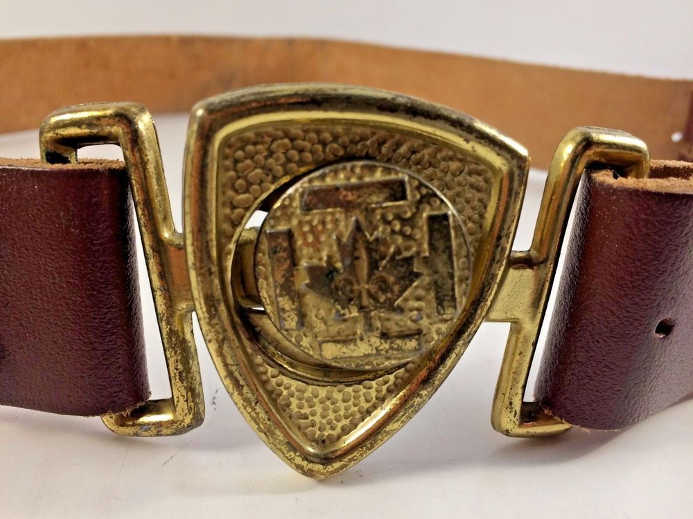 Catholic Scouts of Canada Vintage Brass Belt Buckle and Original Leather Belt