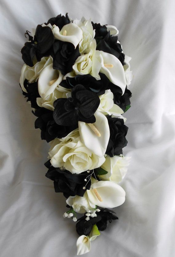 Black Orchids Ivory And Black Roses With Diamond White Calla Lilies Cascade Bride Bouquet 2 Pc Free Toss White Orchid Bouquet Bride Bouquets Wedding Bouquets