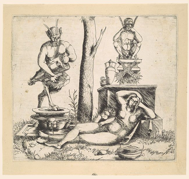 Hurdy-Gurdy Playing Satyr with a Sleeping Nymph, Master of 1515
