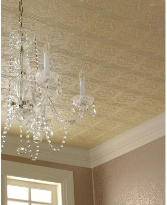 Paintable Embossed Wallpaper Mimicks Look Of Tin Ceiling Hides Concrete Situation Will De Wallpaper Ceiling Paintable Textured Wallpaper Paintable Wallpaper