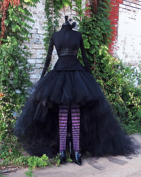 75a57365ac Dramatic high low Bridal length black tulle tutu style skirt handcrafted  with 600 yards of 6 tulle. Perfect for Bellatrix Lestrange Halloween  costume, ...