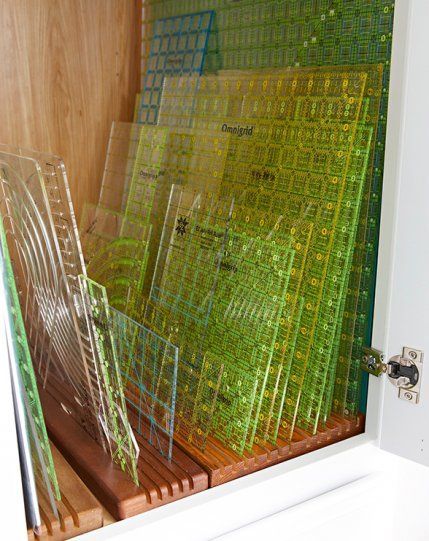 Quilting Ruler Storage Ideas : In a cabinet tall and deep enough to house your largest rulers, grooved wooden ruler caddies ...