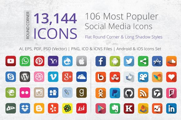 Flat Round Corner Social Media Icons by ArtFusion on