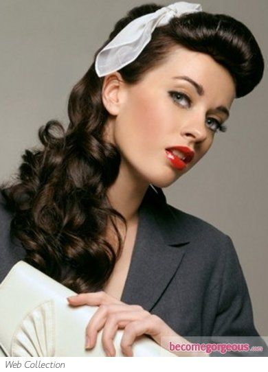 Curly Hair Updo Using Roller Set Technique Description From Pinterest Com I Searched For This O Vintage Hairstyles For Long Hair Hair Styles Retro Hairstyles