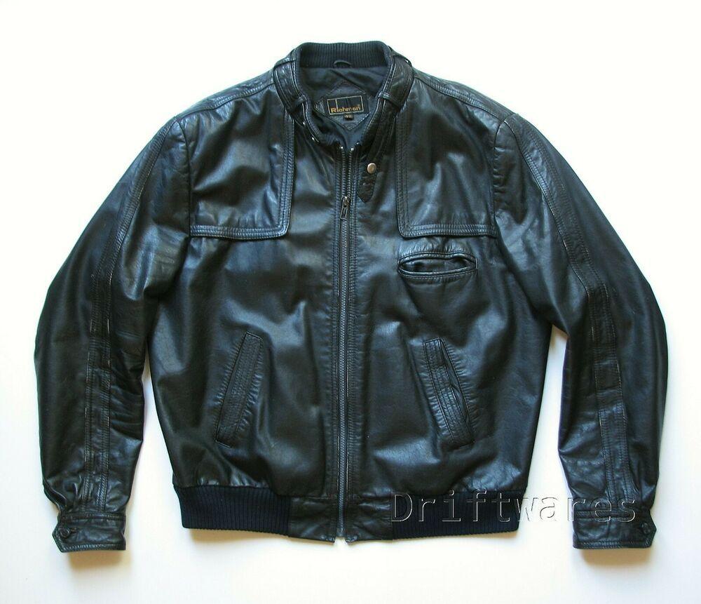 Richman Mens 42 Black Leather Motorcycle Jacket Vintage Cafe Racer Moto Richman Mot Black Leather Motorcycle Jacket Cafe Racer Moto Leather Motorcycle Jacket