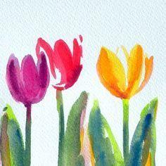 Tulpe 12 X 24 Cm Aquarell C Cordula Kerlikowski Blumen