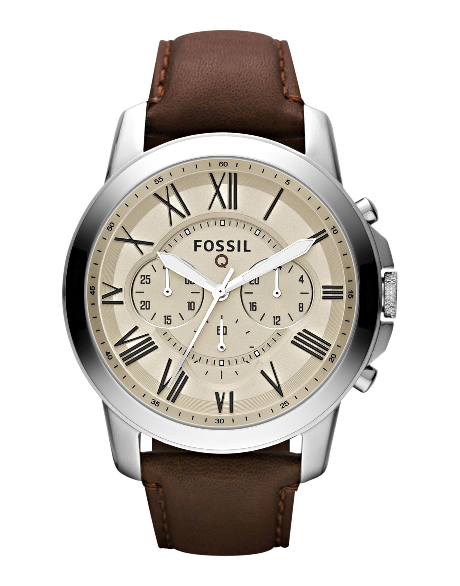 A rich brown leather strap and a silver-tone case complement each other nicely in this Q Grant smartwatch from Fossil.