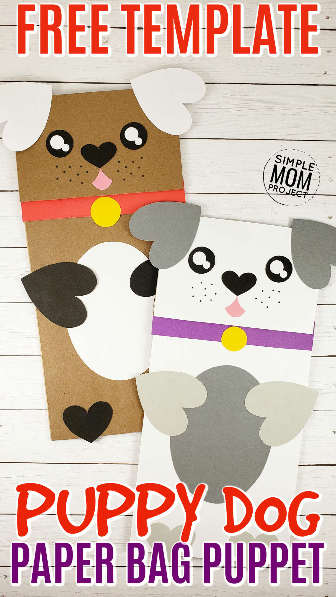 Download Easy Diy Paper Bag Dog Puppet Free Template Simple Mom Project Paper Bag Puppets Puppy Crafts Paper Bag Crafts