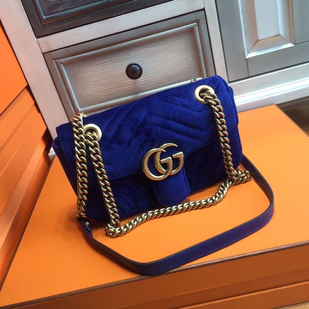 Gucci GG Large Marmont velvet shoulder bag Midnight Blue