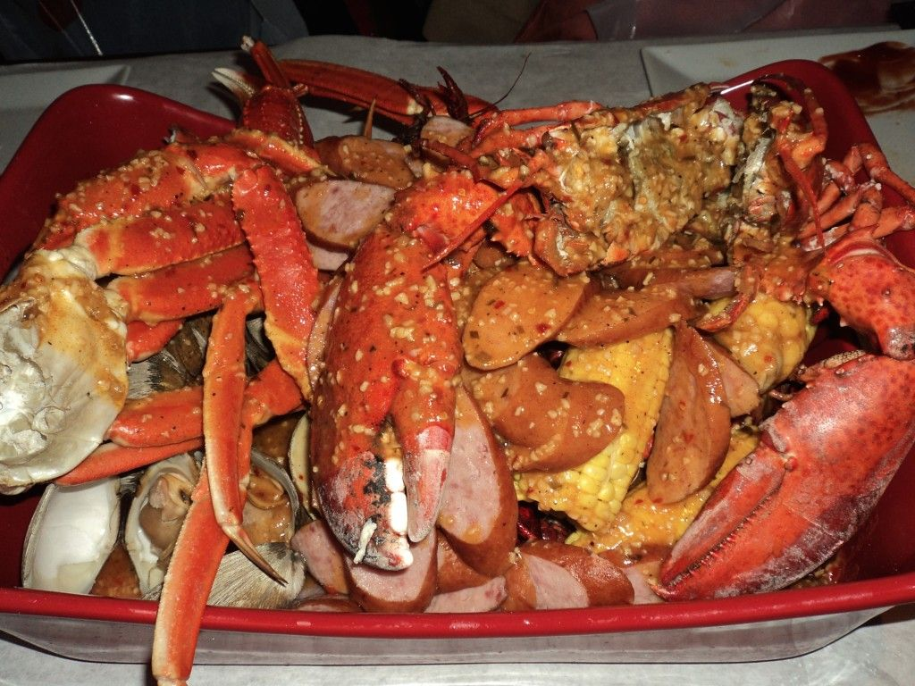 Delicious lemon cajun Seafood Bucket at the Crabby Cafe