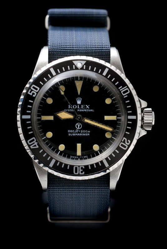 Rolex Ref. 5513 Milsub on an NOS authentic 20mm Milsub NATO strap. The strap is much more rare than the watch. Note the 2-line dial vs the 4-line dial of the Ref. 5512 (chronometer certified) for a slightly cleaner look.