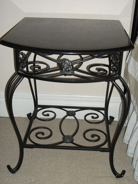 Decorative Wrought Iron Bedside Table W Black Marble Top Iron