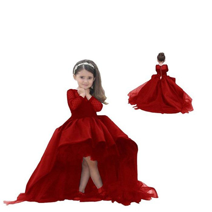 Cha88 Flower Girl Dresses High Low Little Girls Pageant Ball Gowns