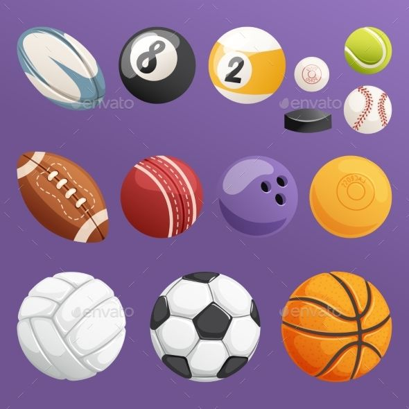 Set Of Sport Balls Isolated Vector Collection Sports Balls Ball Sports