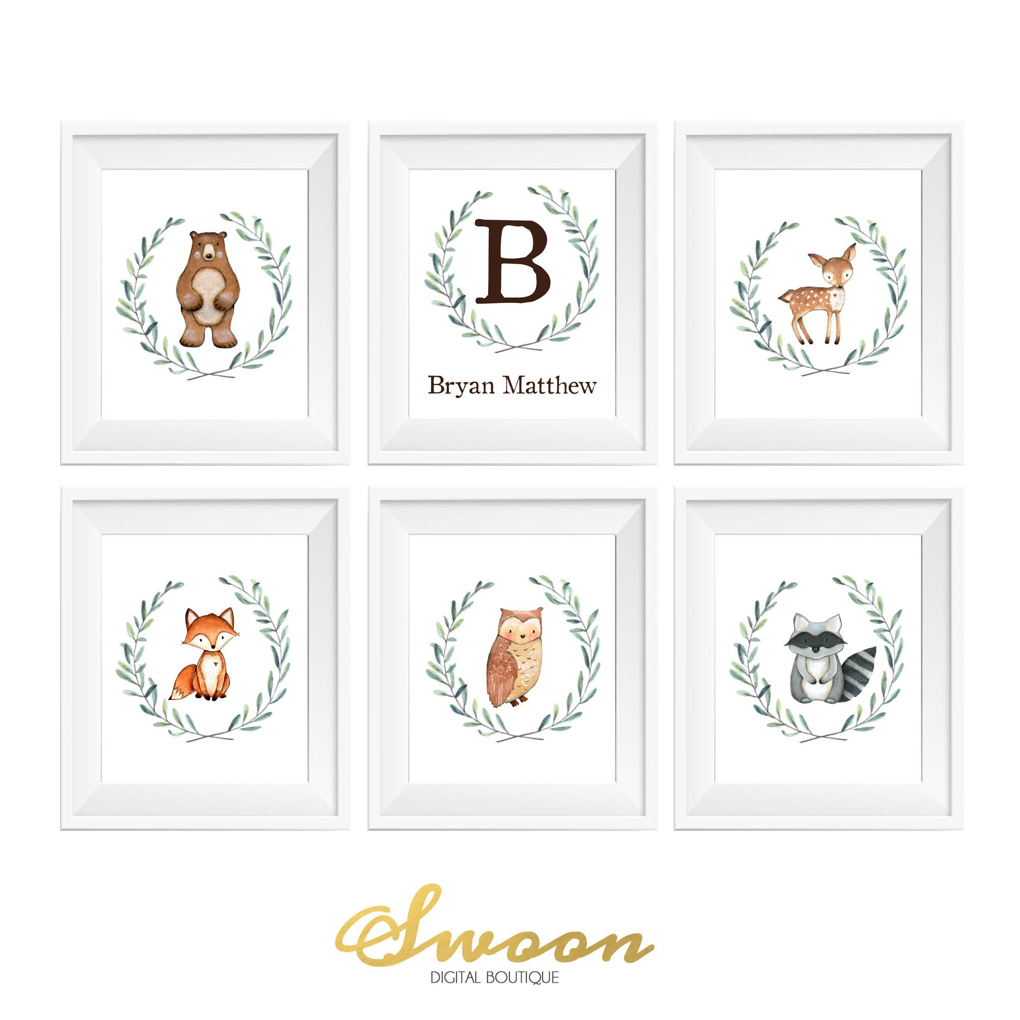 Boy Woodland Nursery Deer Fox Owl Raccoon Bear Woodland