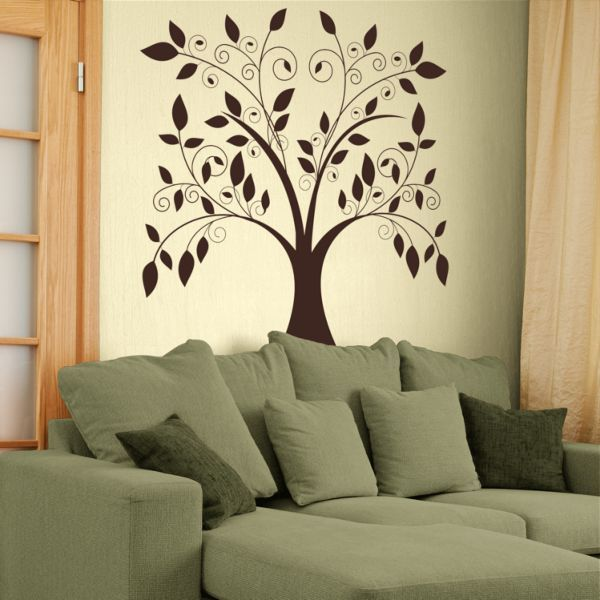 Large Swirling Tree Falling Leaves Vinyl Wall Decal With Images
